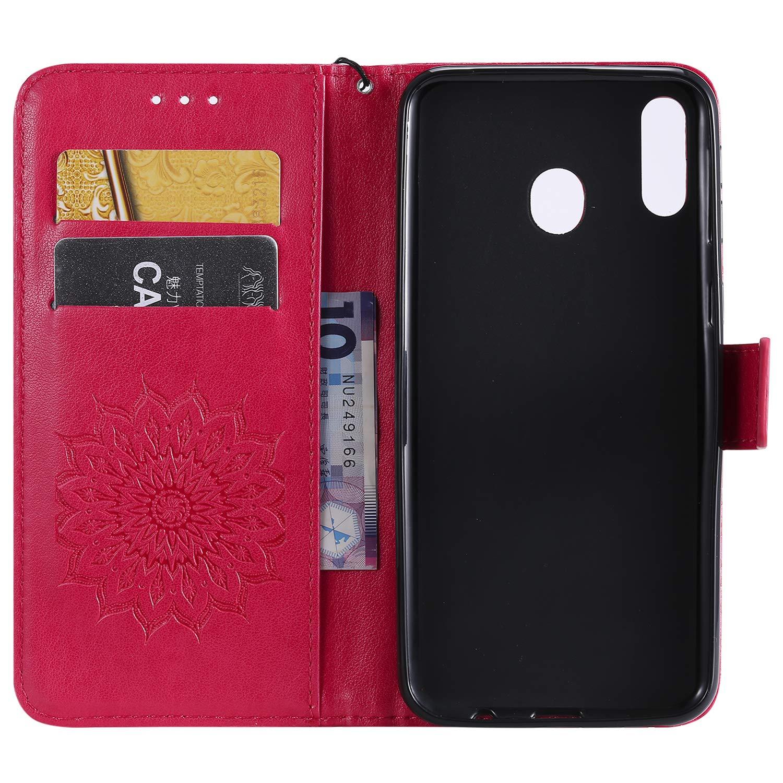Leder H/ülle Flip Case Handytasche Handyh/üllen Lederh/ülle Tasche D/ünn Silikon Case Magnet Cover f/ür Samsung Galaxy M20,Blumen Grau Hancda H/ülle f/ür Samsung Galaxy M20