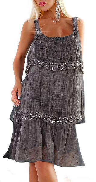 bonito diseño reunirse construcción racional Moda Italia Vestido - para mujer gris oscuro Medium: Amazon ...