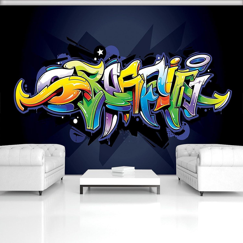 DekoShop Fototapete Vlies Tapete Moderne Wanddeko Wandtapete Buntes Graffiti auf Marine-Blau AMD1509VEXXL VEXXL (312cm. x 219cm.)