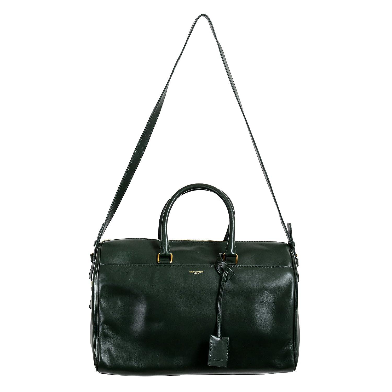 Amazon.com   Saint Laurent Women s Forest Green Calfskin Leather Classic  Duffle 12 Bag   Travel Duffels 05ec667ff3