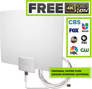 Mohu Leaf 30 Television Antenna, Indoor, 30 Mile Range, Original Paper-thin, Reversible, Paintable, 4K-Ready HDTV, 10 Foot Detachable Cable, USA Made, MH-110598 (Renewed)