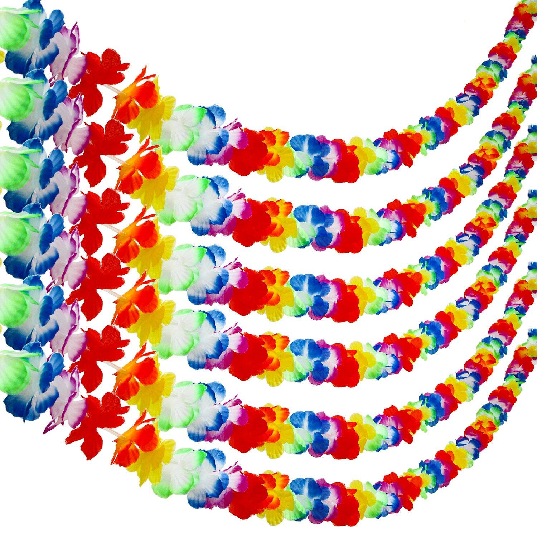 Aneco 6 Packs Colorful Hawaiian Luau Tropical Flower Lei Garland Party Decorations Hawaiian Tropical Party Supplies ,10 Feet Each