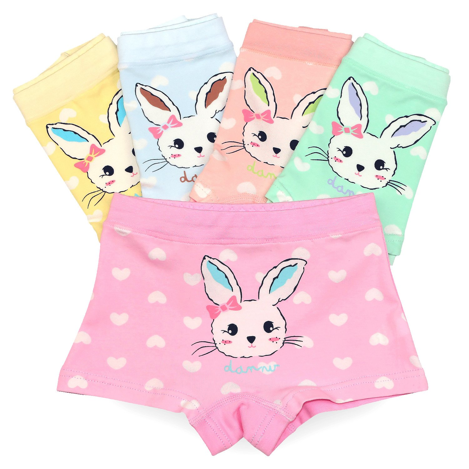 BOOPH Rabbit Girls Underwear Pack of 5 Toddler Panties Cute Cotton Bunny Boyshort for Girls 2-13 Years
