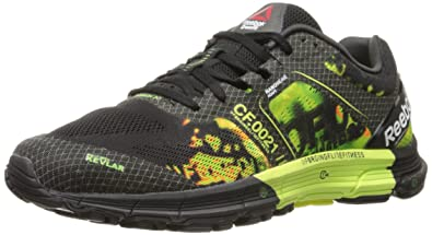 Reebok Men's Crossfit One Cushion 3.0 Running Shoe, BlackSolar YellowSolar Green