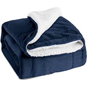 Bedsure Sherpa Fleece Blanket Queen Size Navy Blue Plush Blanket Fuzzy Soft Blanket Microfiber