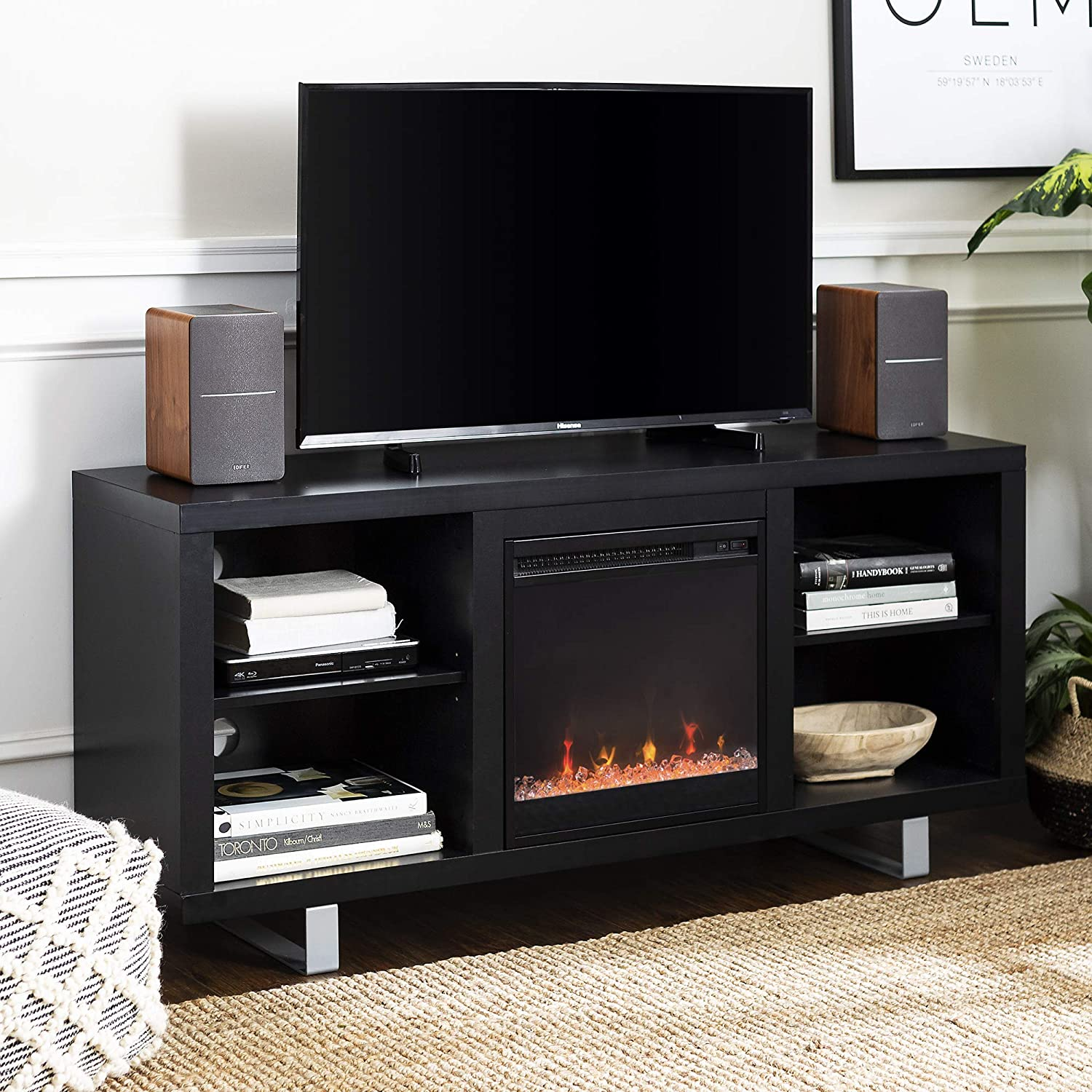 Walker Edison Modern Wood And Metal Fireplace Stand For Tv S Up To 64 Flat Screen Living Room Storage Shelves Entertainment Center Black Az58fp18smsb Furniture Decor