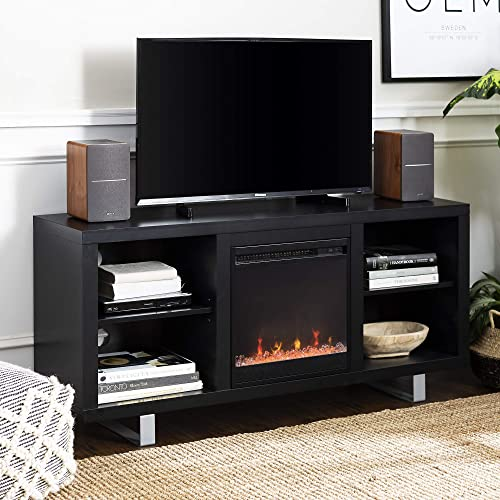 Walker Edison Modern Wood and Metal Fireplace Stand for TV s up to 64 Flat Screen Living Room Storage Shelves Entertainment Center, Black