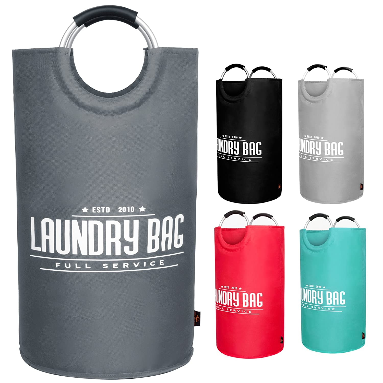 youyoute Largeランドリーバスケット、オックスフォード生地Collapsible Laundry Hamper、折りたたみ式カレッジランドリーバッグ、防水ポータブルストレージバッグwith Carryアルミニウムハンドルfor Dirty服、おもちゃ B07FF3NL5F ダークグレー