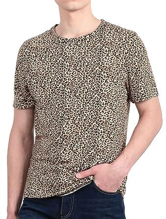 2ffdcfdcfc Amazon.com: uxcell Men Short Sleeve Round Neck Leopard Print T Shirt:  Clothing