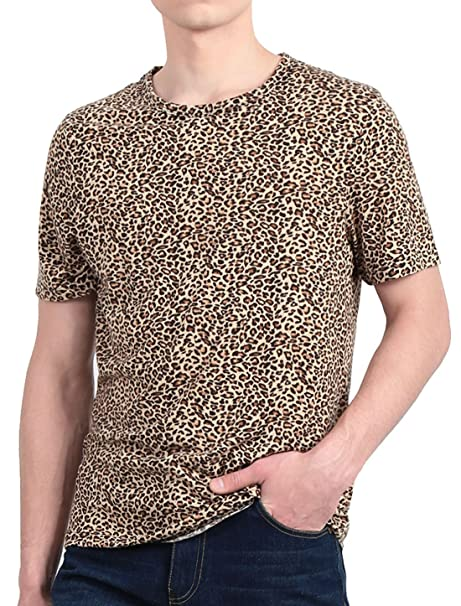 2749c6185f67 uxcell Men Leopard Prints Round Neck Cozy Fit Tee Shirt Beige Black S (US 34