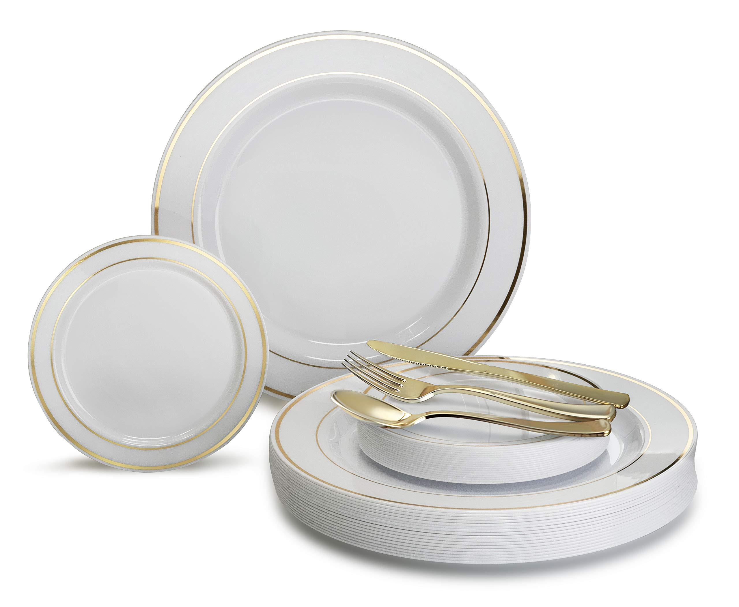 '' OCCASIONS'' 600 PCS / 120 GUEST Wedding Disposable Plastic Plate and Silverware Combo Set, (White/Gold Rim plates, Gold silverware) by OCCASIONS FINEST PLASTIC TABLEWARE (Image #2)