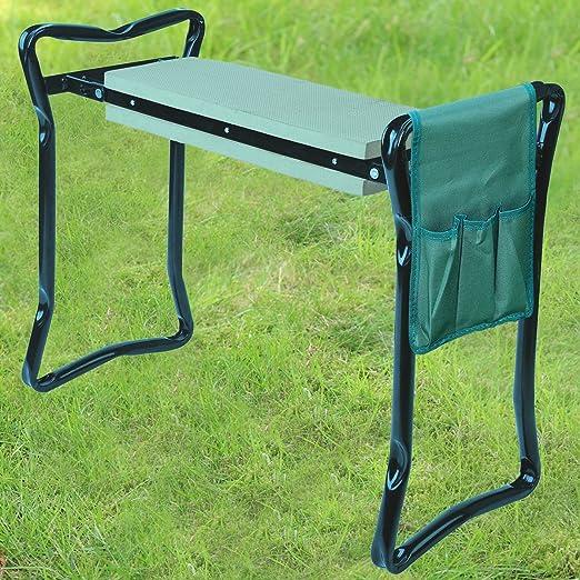 Taburete para jardín 2 en 1 de Denny internacional®, portátil, plegable, con asas y asiento de espuma acolchado, incluye bolsa de herramientas gratis : Amazon.es: Jardín