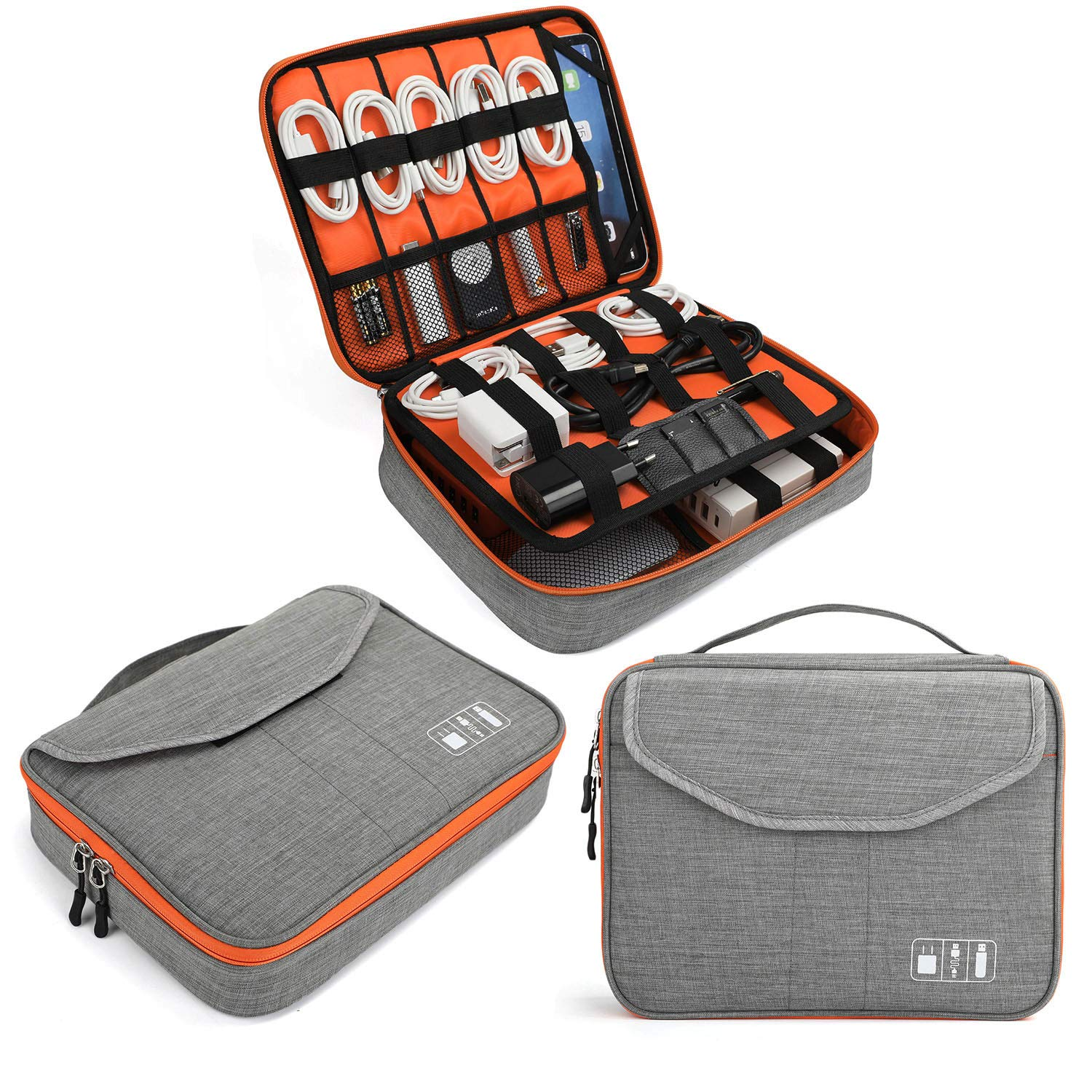 Electronics Bag, Jelly Comb Electronic Accessories Travel Cable Organizer Waterproof Cord Storage Bag for Cables, iPad (Up to 11''),Power Bank, USB Flash Drive and More-(Orange and Gray, 11in) by Jelly Comb