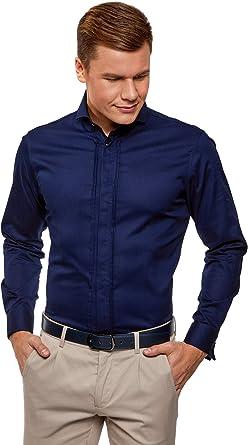 oodji Ultra Hombre Camisa Entallada con Puños para Gemelos: Amazon.es: Ropa y accesorios