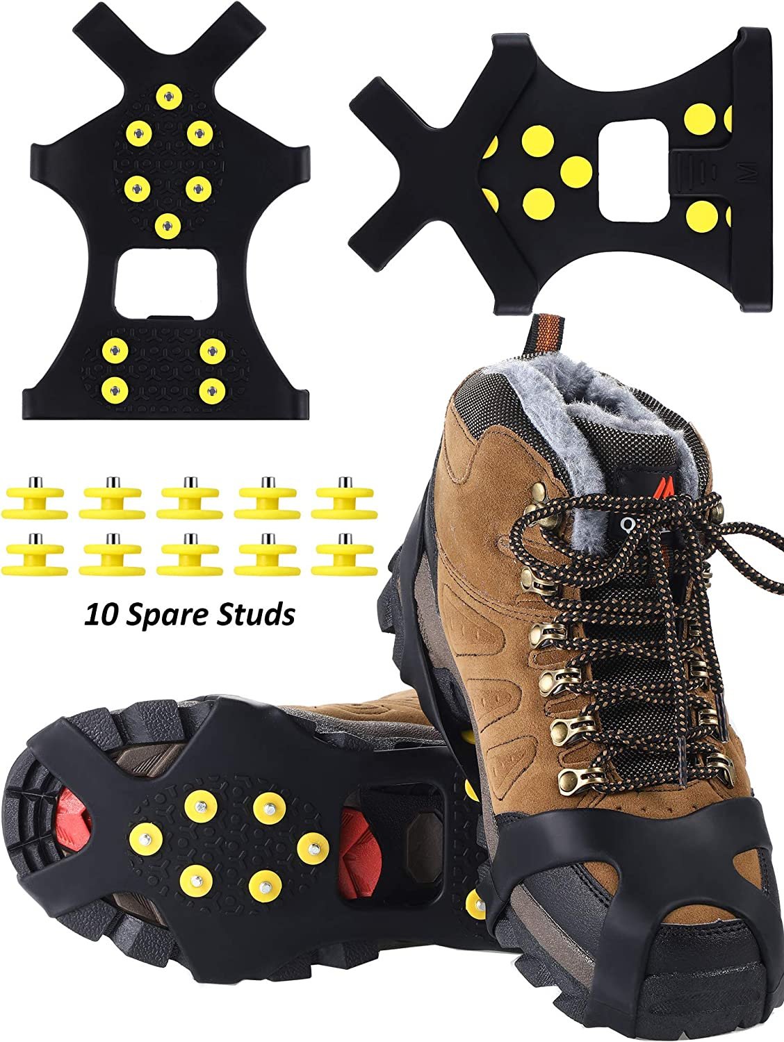 SATINIOR Ice and Snow Grips Traction Rubber Spikes Cleat Over Boot and 10 Pieces Steel Studs