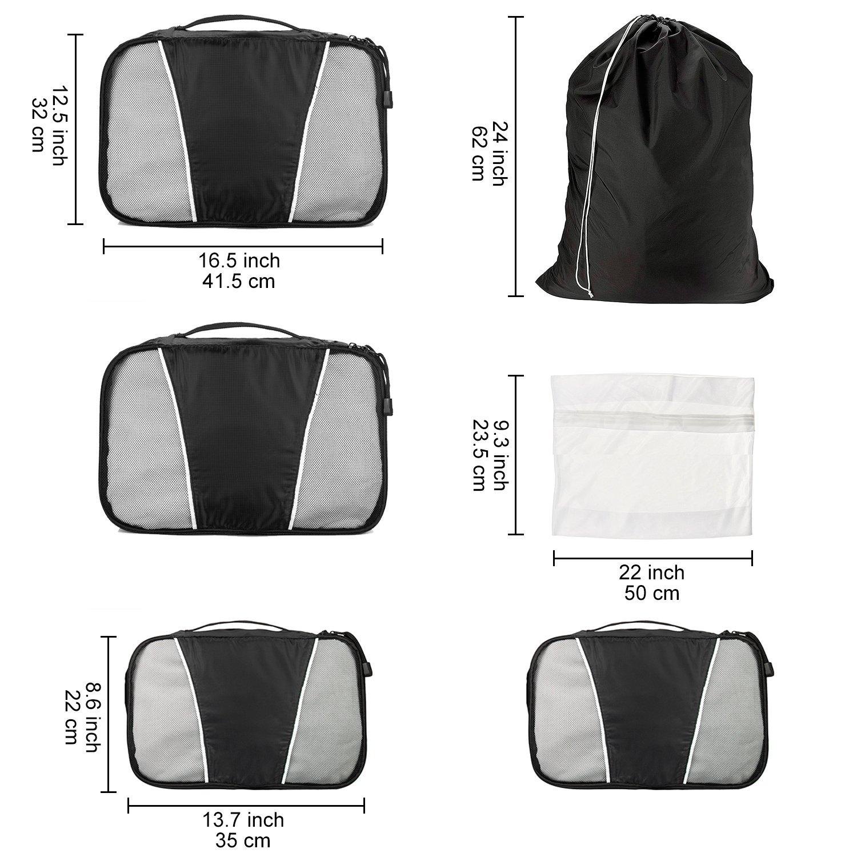 WandF Expandable Packing Organizer Cubes Set of 6, Various Sizes Plus Underwear Bag and Laundry / Shoe Bag w/ Drawstring