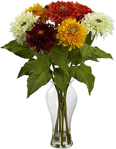 Nearly Natural 1360-AS Sunflower Arrangement with Vase, Assorted