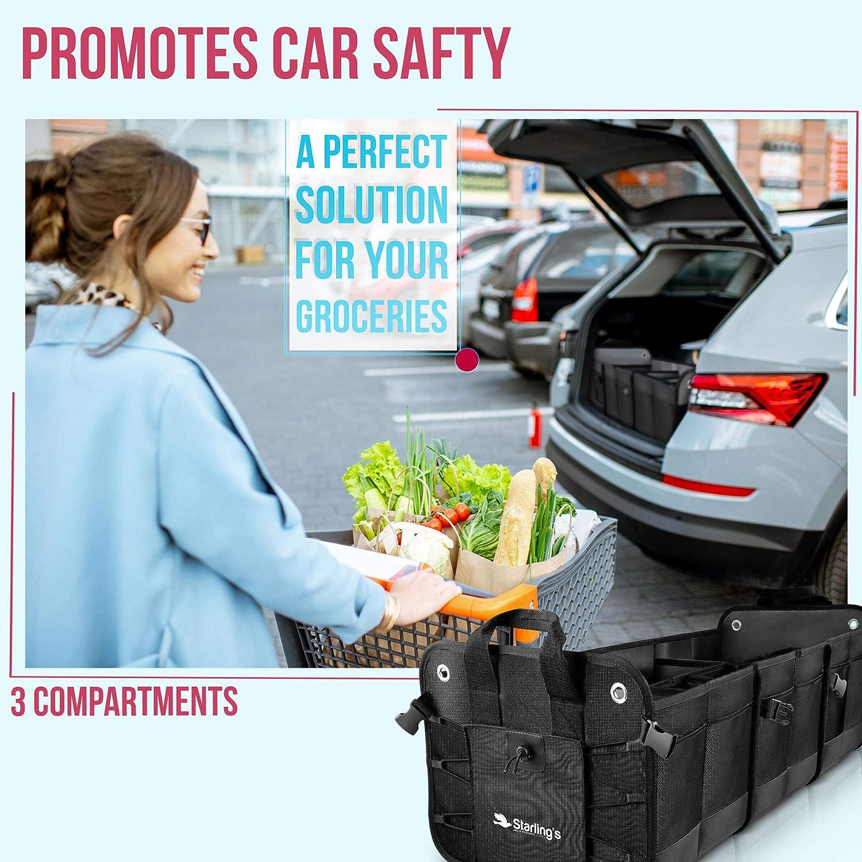Durable Storage SUV Cargo Organizer Adjustable Bordeaux, 3 Compartments Starlings Car Trunk Organizer