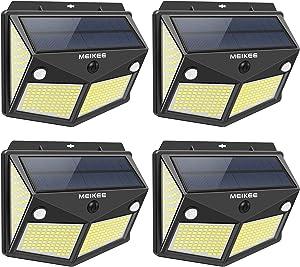 MEIKEE Solar Lights Outdoor, 280 LED Solar Motion Sensor Security Lights, 300° Wide Lighting Angle, IP65 Waterproof Solar Powered Wireless Wall Lights for Garden Yard Deck Garage Porch Fence(4 Pack)