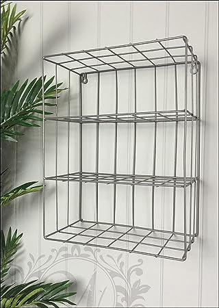 Three Shelf Industrial Style Metal Wire Wall Storage: Amazon.co.uk ...