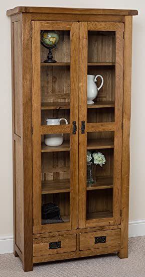 Cotswold Rustic Solid Oak Glass Front Display Cabinet Living Room Furniture,  (890 X 400 Part 89