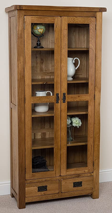 Cotswold Rustic Solid Oak Glass Front Display Cabinet Living Room  Furniture, (890 X 400