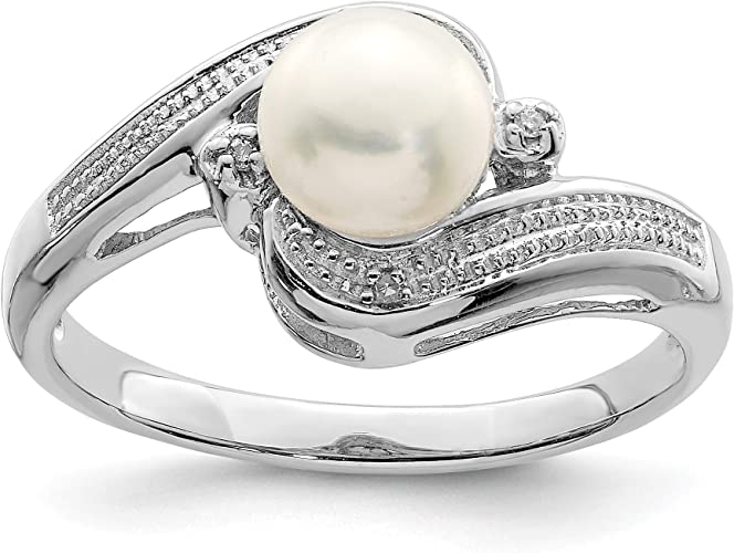 Color H-I, Clarity SI2-I1 Sterling Silver Rhodium Plated Freshwater Cultured Pearl /& Diamond Pendant