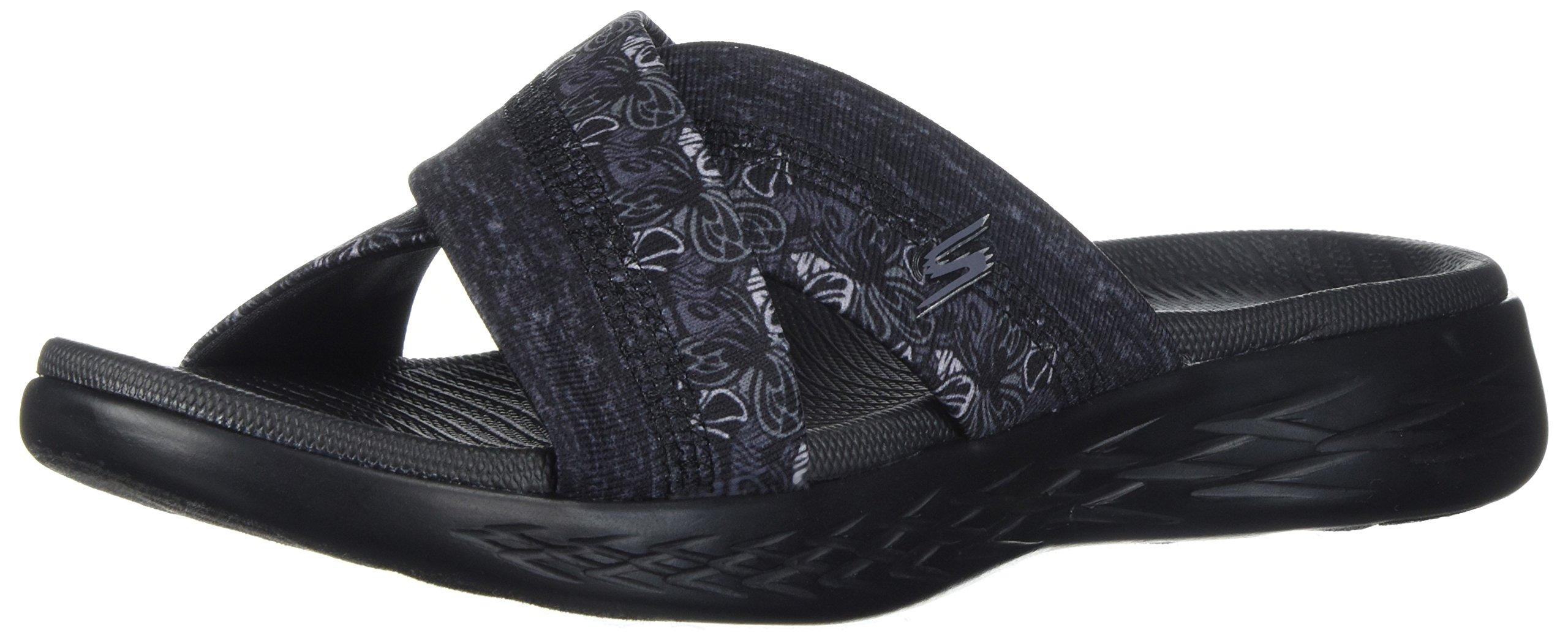 Skechers Women's on -The-Go 600-Monarch Slide Sandal, Black, 8 M US