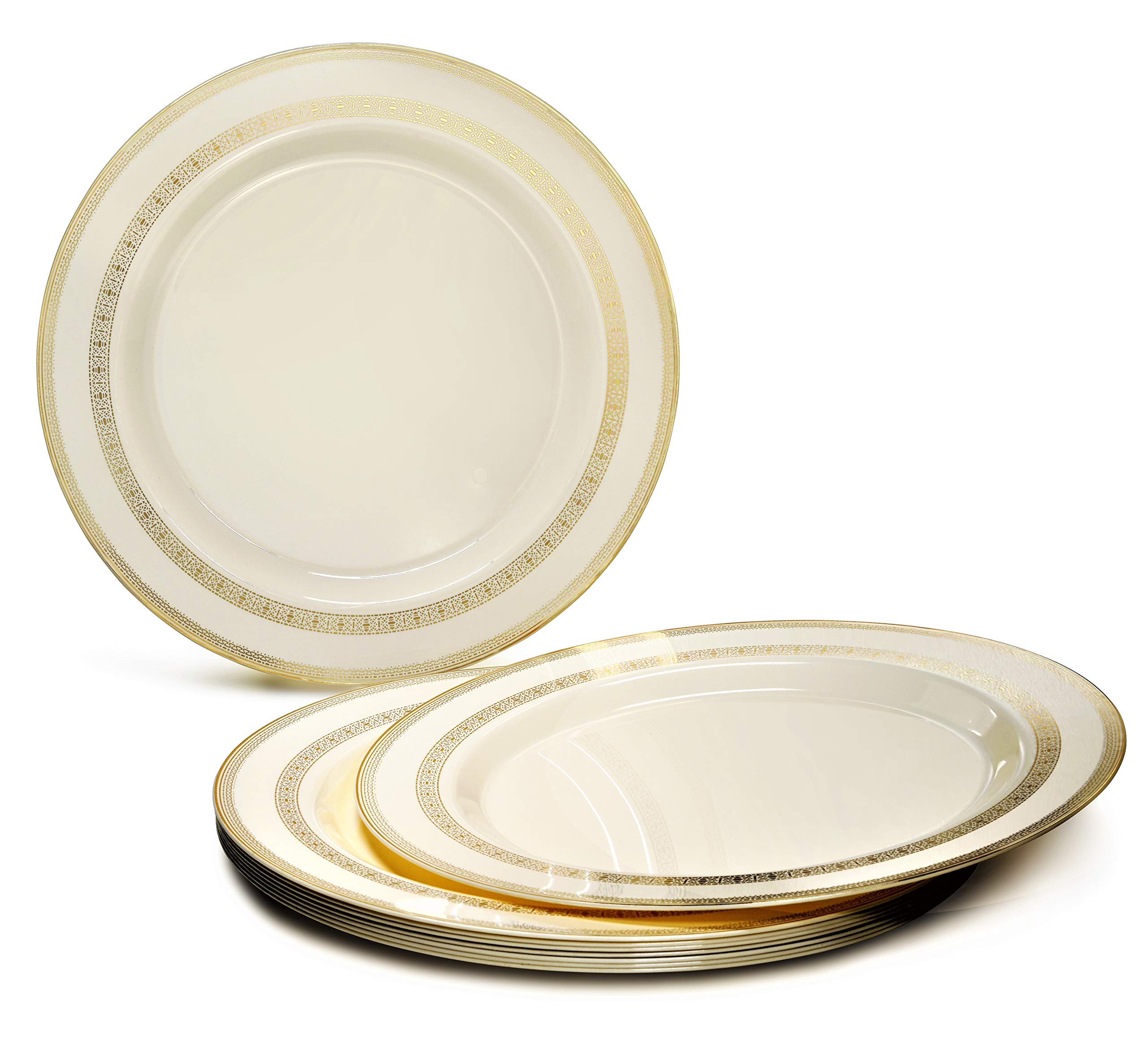 ''OCCASIONS'' 60 PACK, Heavyweight Disposable Wedding Party Plastic Plates (10.5'' Dinner Plate, Lace Ivory/Gold)