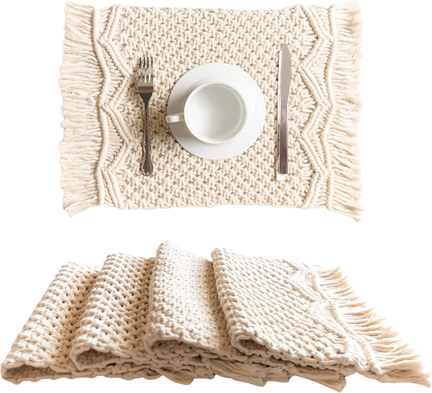"""SnugLife Macrame Placemats Set of 4 - Handmade Cotton Woven Boho Placemats - Modern Farmhouse Fringe Placemats for Dining Table, Kitchen, Bohemian Wedding Décor, Rustic Natural Off White, 12""""x18"""""""