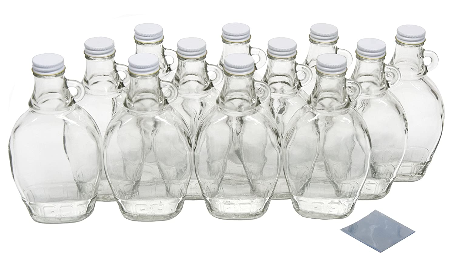 North Mountain Supply 8 Ounce Glass Maple Syrup Bottles with Loop Handle & White Metal Lids & Shrink Bands - Case of 12