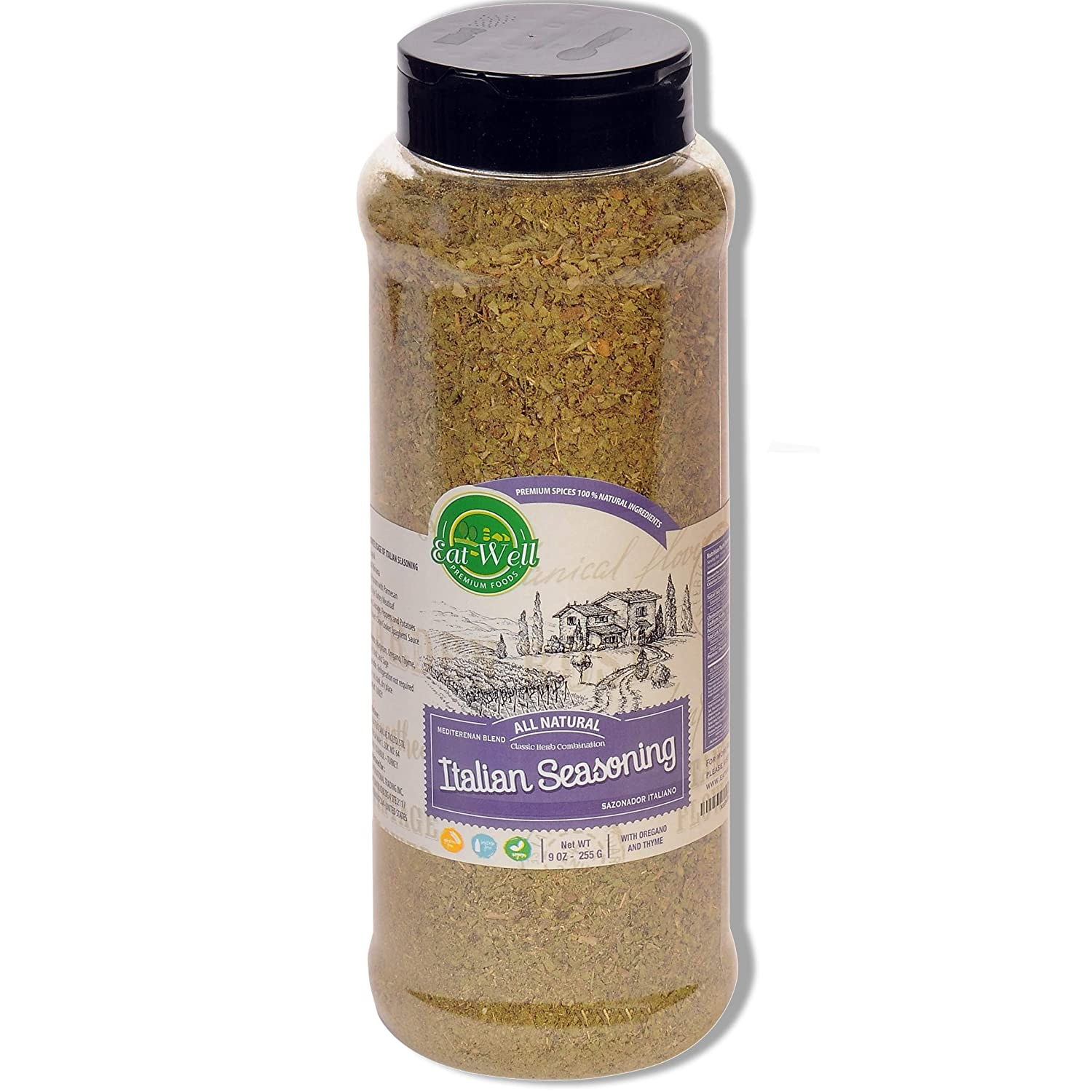Eat Well Premium Foods - Italian Seasoning, 9 oz - 255g, Authentic taste of Perfectly Blended of Italian-Style Herbs and Spices - Italian Spice (with Mediterranean Crops) Salt Free