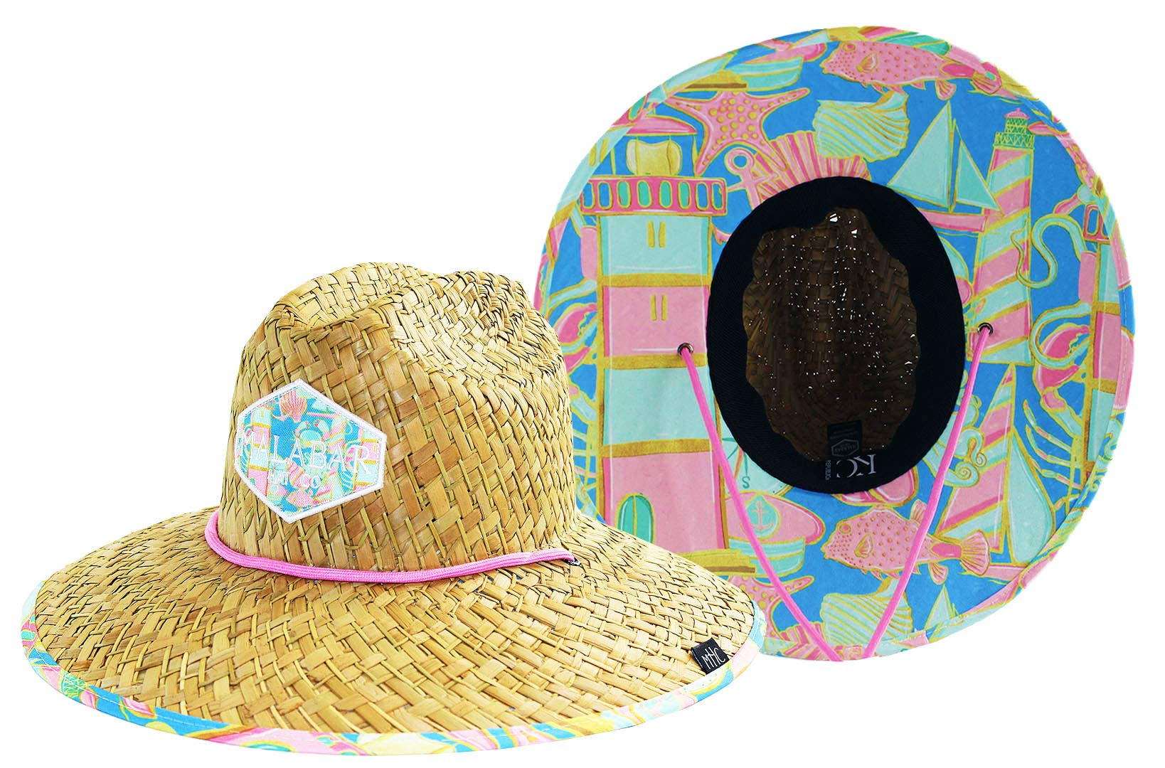 Woman''s Sun Hat Straw Hat with Fabric Print Lifeguard Hat Great for Beach Ocean, Cruise, and Outdoor, Malabar Hat Co. (Light House)