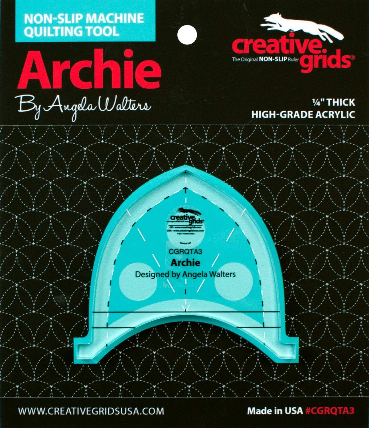 Creative Grids Machine Quilting Tool 3 Pack Designed by Angela Walters Squiggy Slim Archie