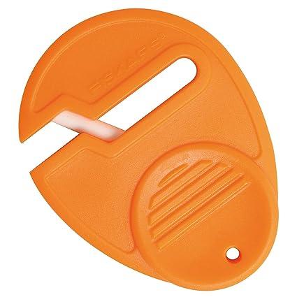 Fiskars Afilador de Tijeras Universal, para diestros y zurdos, Afilador de cerámica/Cubierta de plástico, Naranja, Sewsharp, 1003871