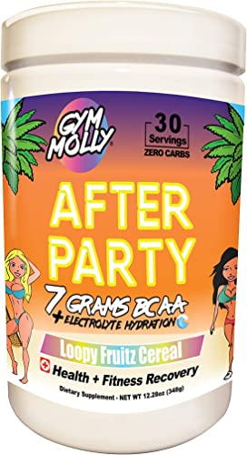 Gym Molly After Party 7g BCAA Powder – Workout Drink Supplement for Fitness Recovery Contains 750 MG Coconut Electrolytes and Zero Carbs, Sugar, or Calories Caffeine Free Loopy Fruitz Cereal
