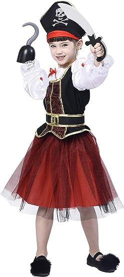 Child Girls Golden Pirate Dress Fancy Dress Party Costume