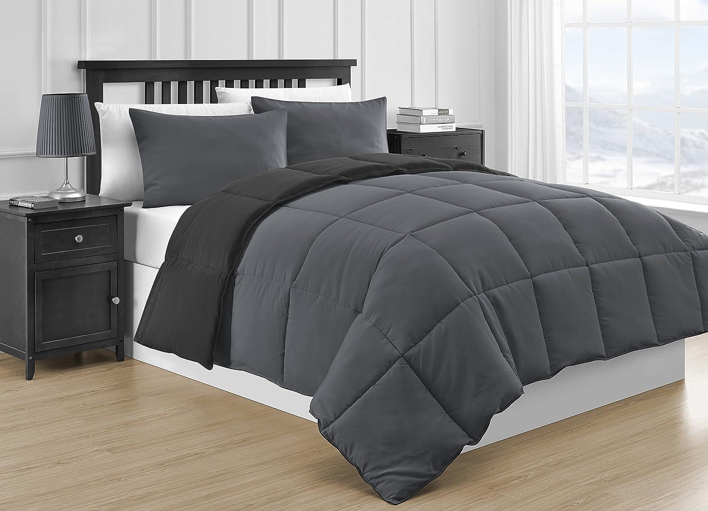 Comfy Bedding Reversible Microfiber Black & Gray 3-Piece Comforter Set Queen, Black & Gray