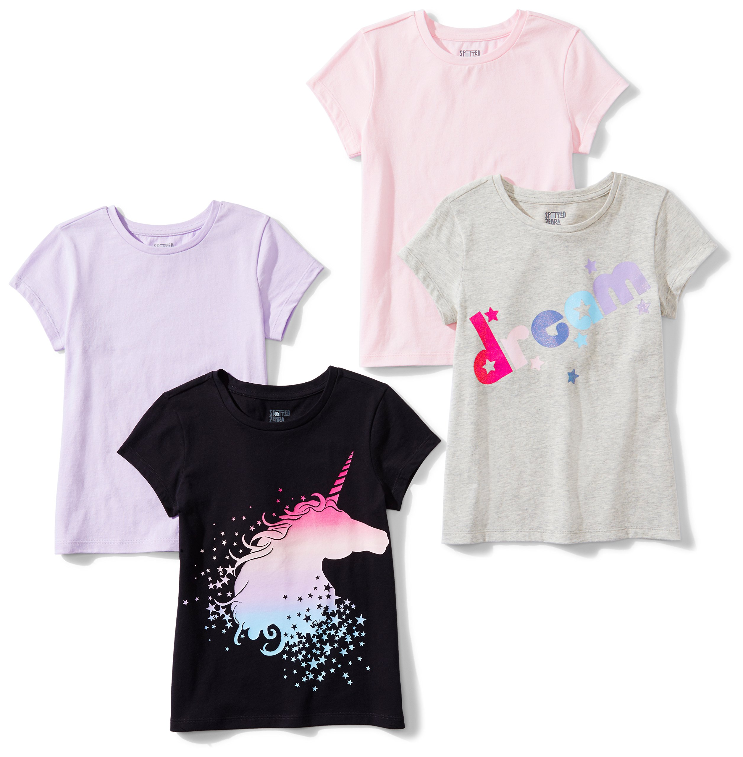 Spotted Zebra Little Girls' 4-Pack Short-Sleeve T-Shirts, Mystic, Small (6-7)