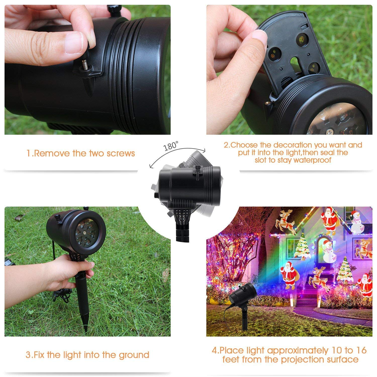 Christmas LED Projector Light, Outdoor Waterproof High Brightness Light Show with 32ft Cable & Remote Control for Christmas, Party and Holiday Decorations (16 Patterns) by Tunnkit (Image #6)