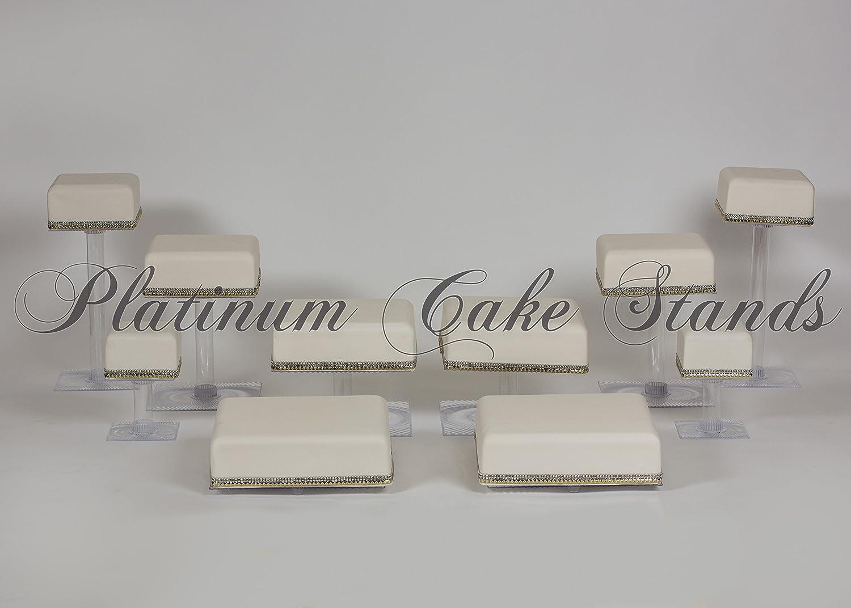 カスケードウェディングケーキ10 Tier Square Cupcake Stand (スタイルsq1011 )   B0755M3FN8