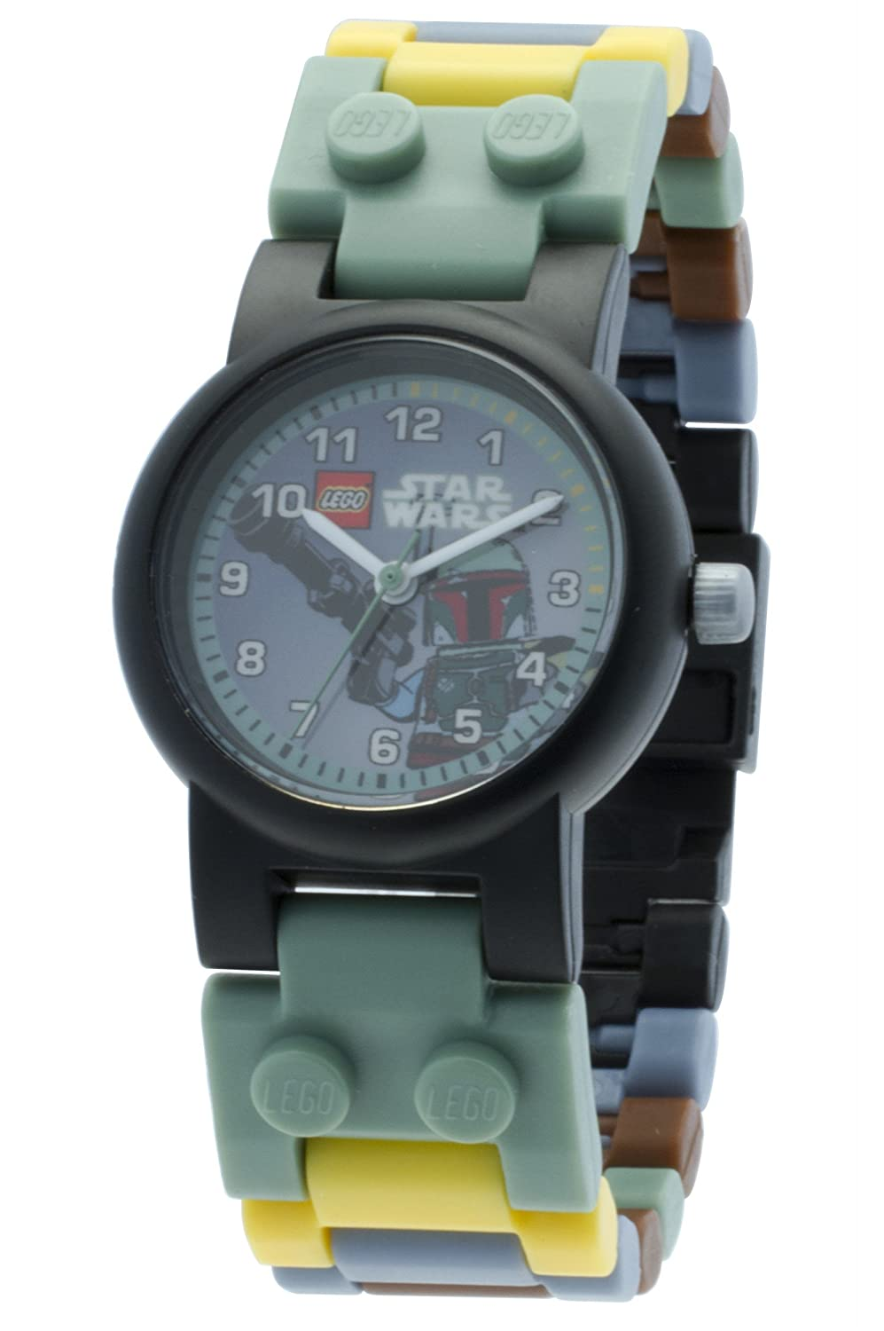 LEGO 8020363 Star Wars Boba Fett Kids Buildable Watch with Link Bracelet and Minifigure | green/gray | plastic | 28mm case diameter| analog quartz | boy girl | official