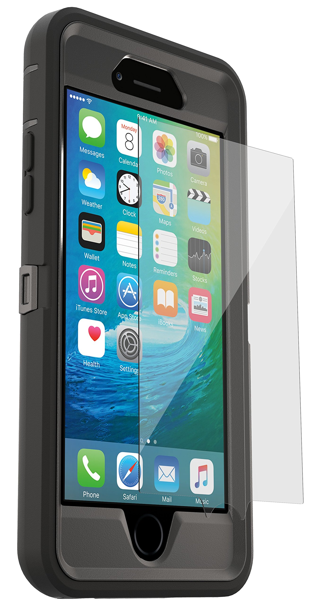 OtterBox DEFENDER for iPhone 6s PLUS & iPhone 6 PLUS (5.5'') with ALPHA GLASS Screen Protector - Retail Packaging - BLACK