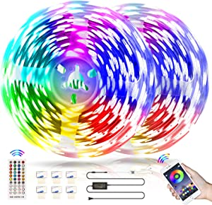 Bluetooth Music LED Strip Lights 32.8ft with App Control, Flexible Self Adhesive RGB Color Changing LED Lights Strips with Remote,Multicolor Neon Mood Bar Lights,LED Tape Lights for Bedroom Room Decor