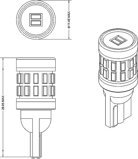 VLEDS 2pcs 240lm 5000K White 194 T10 2825 360/° High Output 26 LED Bulb