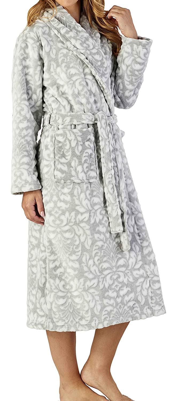 Ladies 46/116cm Luxury Thick Soft Fleece Bath Robe Dressing Gown House Coat