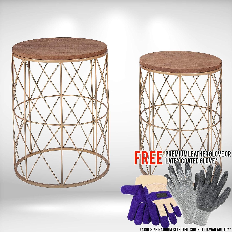 Superb Amazon Com 2 Piece Nesting Wood And Metal Garden Stool Set Ncnpc Chair Design For Home Ncnpcorg