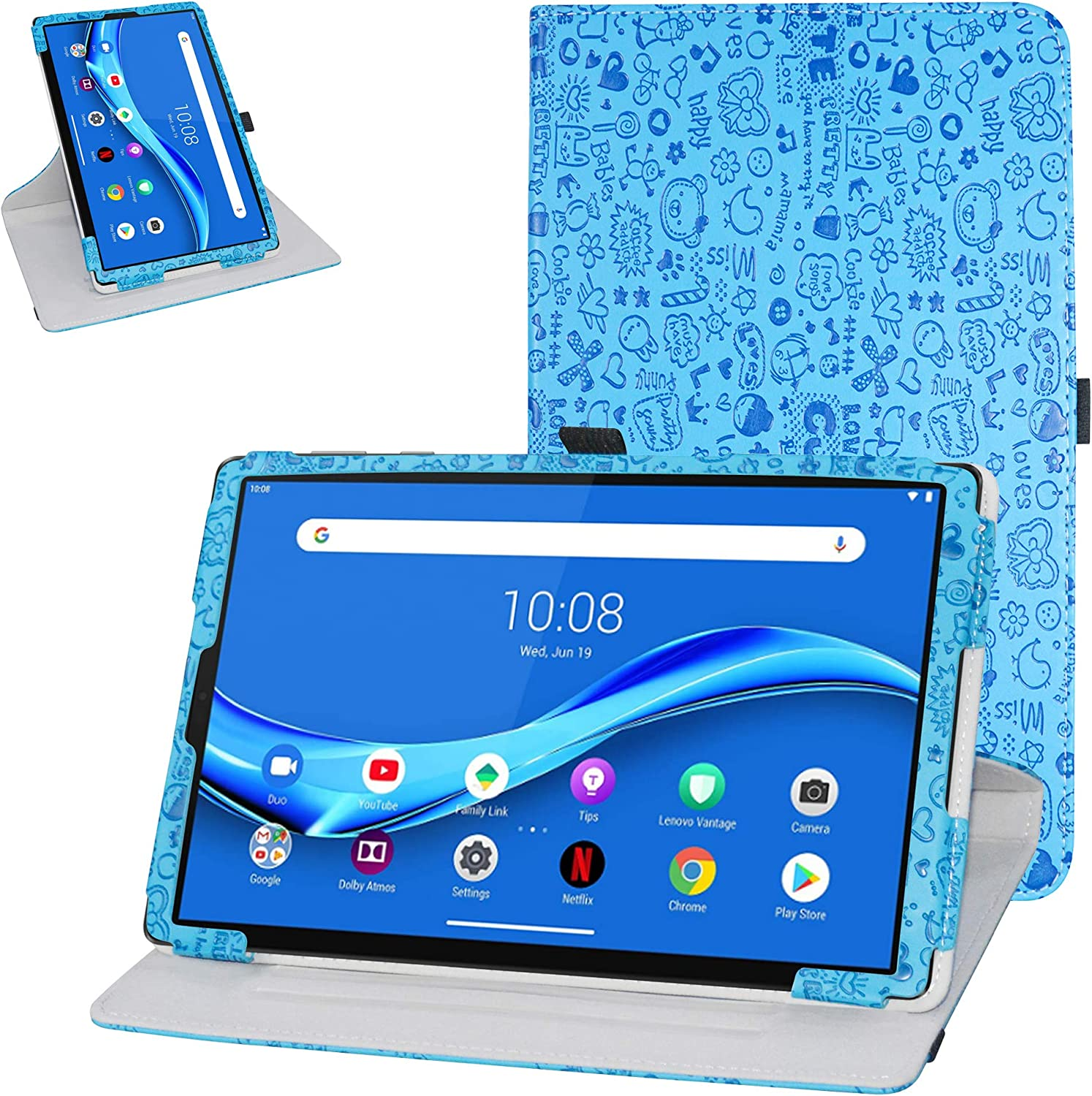 """Bige for Lenovo Tab M10 Plus Rotating Case,360 Degree Rotary Stand with Cute Pattern Cover for 10.3"""" Lenovo Tab M10 Plus/Smart Tab M10 Plus Tablet (Not fit 10.1"""" Lenovo Smart Tab M10),Blue"""
