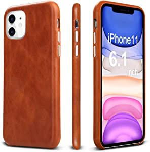 TOOVREN iPhone 11 Case, iPhone 11 Leather Case Genuine Protective Ultra Thin Slim Shockproof Anti-Scratch Vintage Phone Case Hard Back Cover for Apple iPhone 11 6.1 inch 2019 Brown
