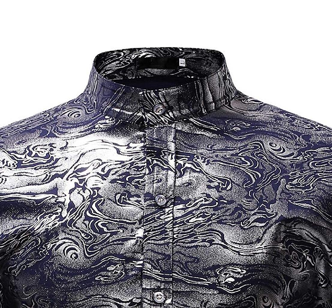 GenericMen Floral Printed Stand Collar Club Slim Fit Long Sleeve Button Down Shirts